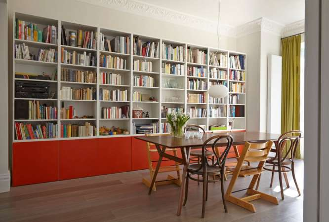 http://www.minimalistdesk.net/577/chic-ikea-billy-bookcases-design-ideas-for-your-home/ikea-billy-bookcase-with-orange-base-units-in-a-dinning-room-wooden-floor/
